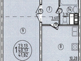 Однокомнатная квартира 40,17м²